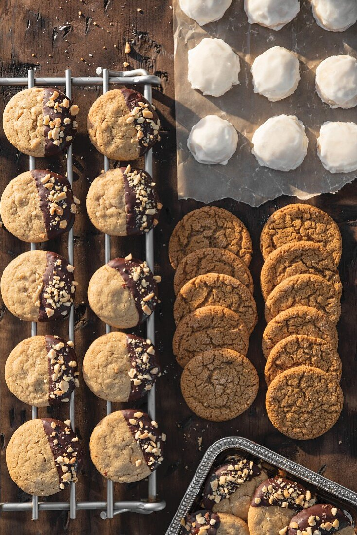 Melt in Your Mouth Lemon Sugar Cookies, Soft Ginger Molasses Cookies and Dipped Peanut Butter Cookie