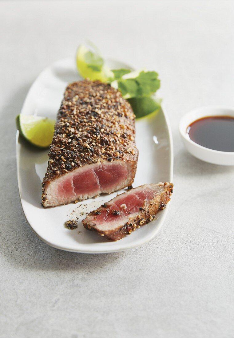 Tuna steak with a pepper and coriander crust
