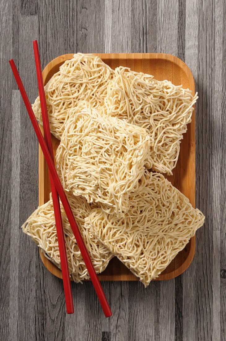 Asian noodles and chopsticks