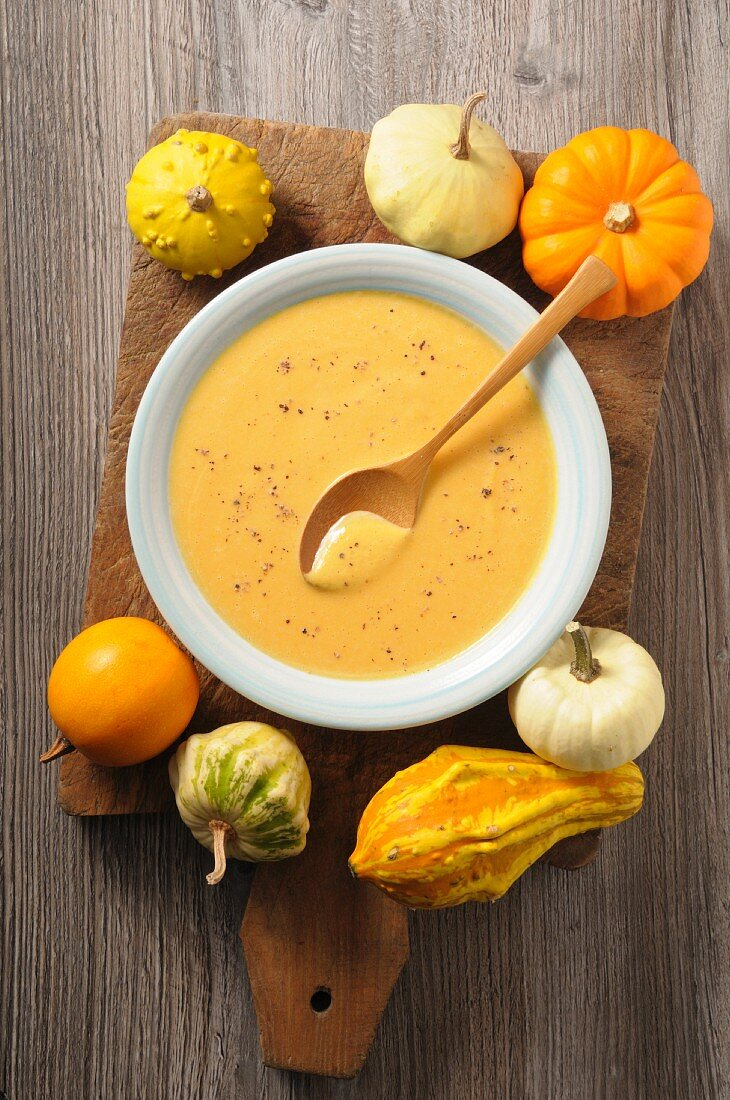 Pumpkin cream soup and ornamental gourds on a wooden board