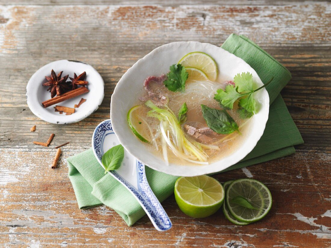 Pho (soup with beef, rice noodles and vegetables, Vietnam)