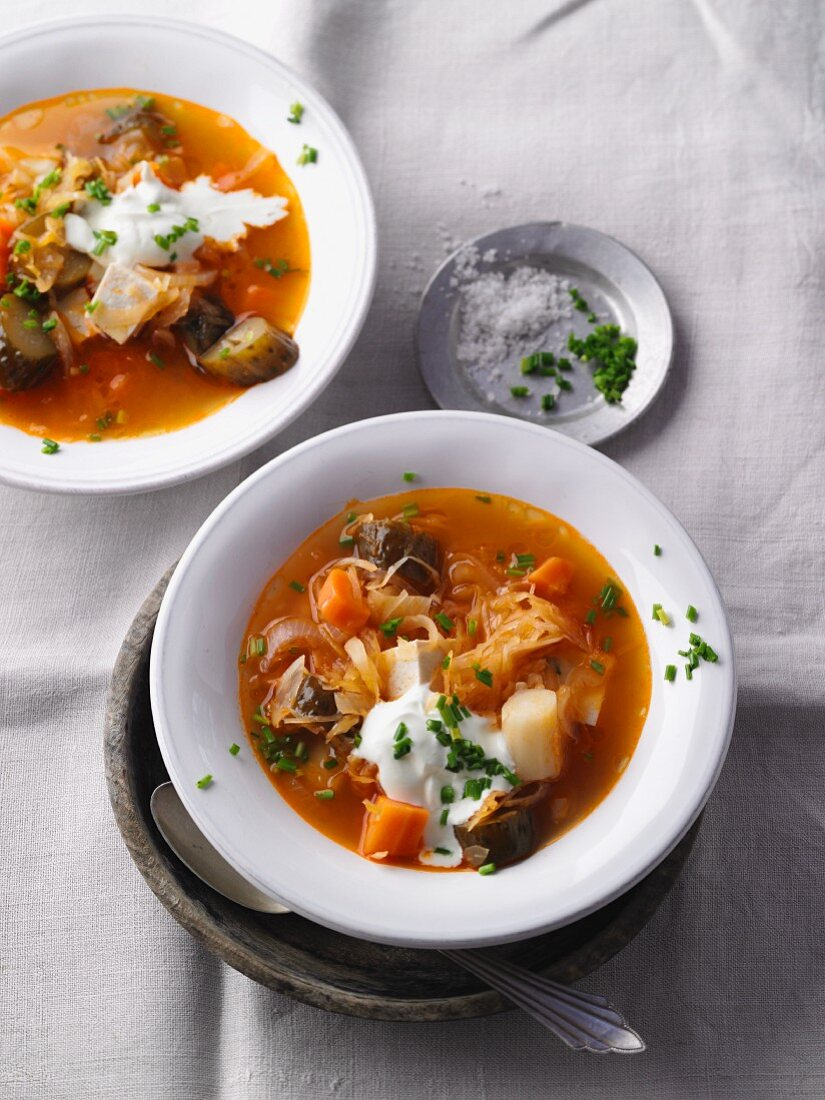 Vegetarian sauerkraut and solyanka (spicy east European soup) with smoked tofu