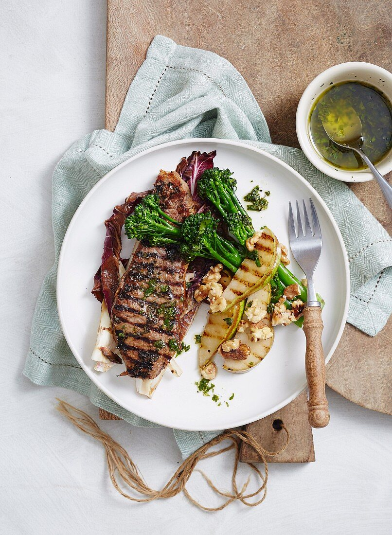 Grilled Broccolini, Steal and Pears