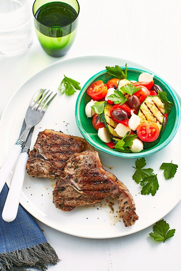 Lamb Chops and Grilled Zucchini Salad