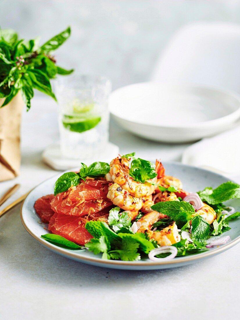 Grilled Prawns with Pink Grapefruit Salad