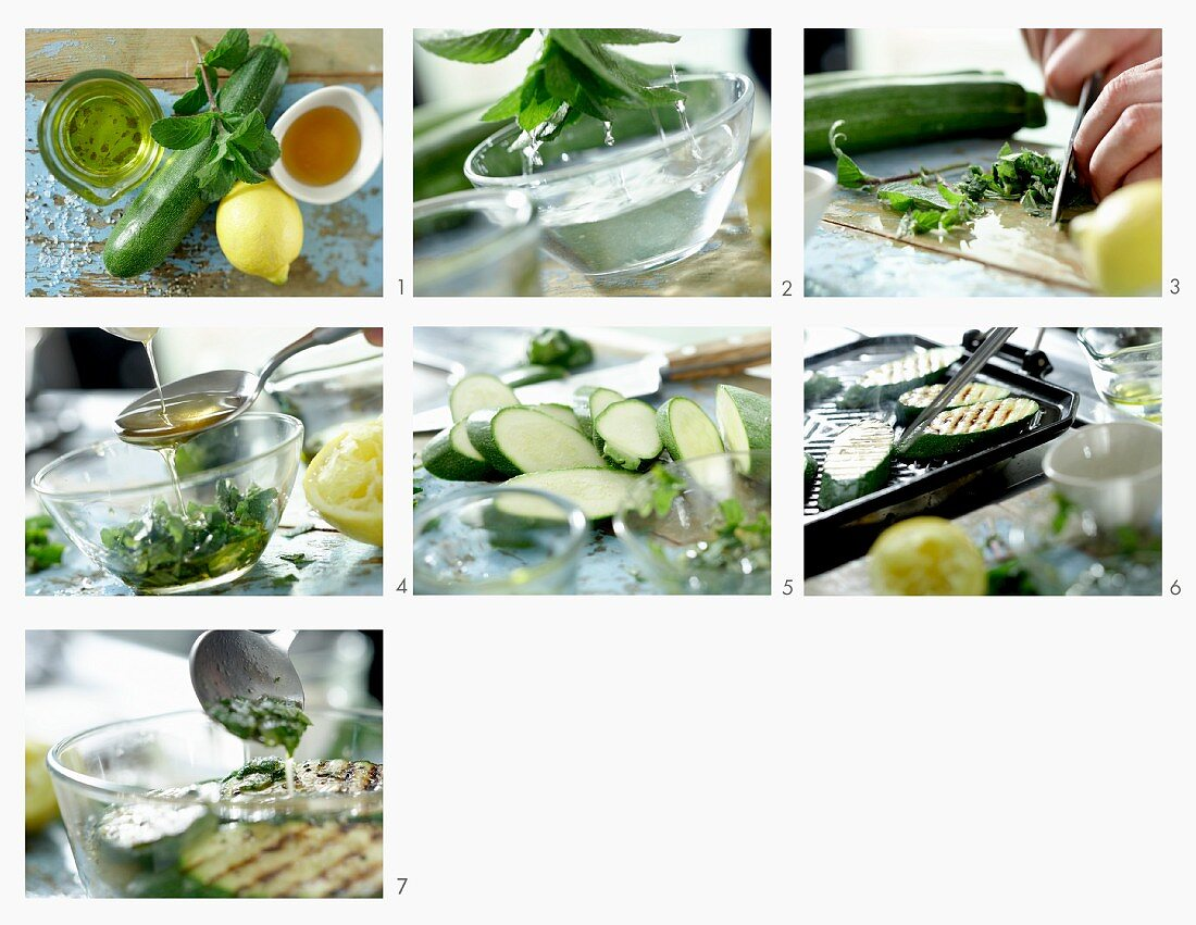 How to make grilled zucchini slices with mint and honey