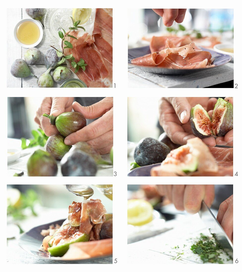 How to make figs with Parma ham, honey and mint