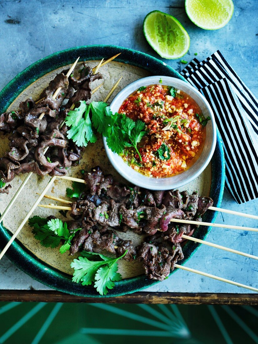 South American Anticuchos - grilled beef skewers with chilli peanut sauce