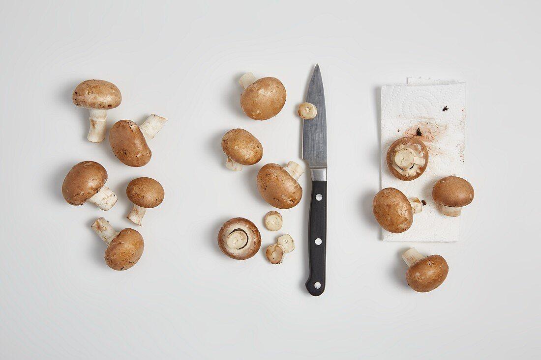 Washing mushrooms (step by step)