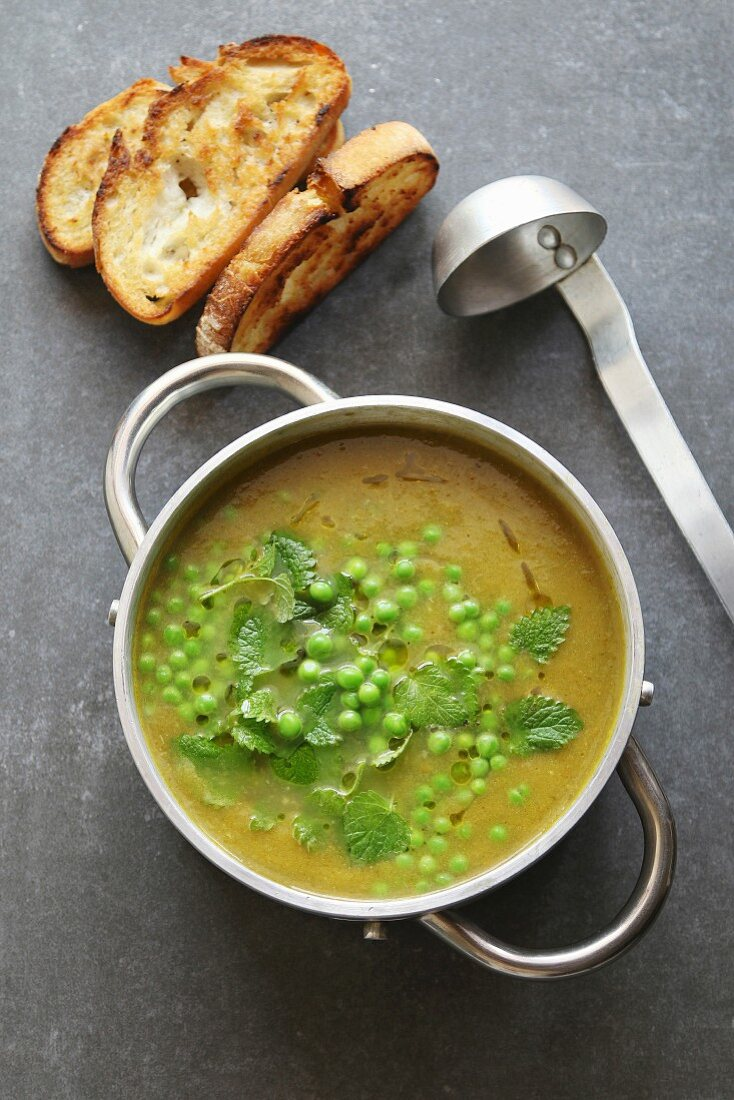 Green pea soup in an aluminum pan garnished with fresh mint