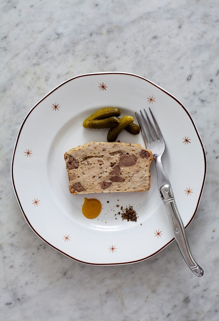 Chicken liver terrine with pickled gherkins for Christmas