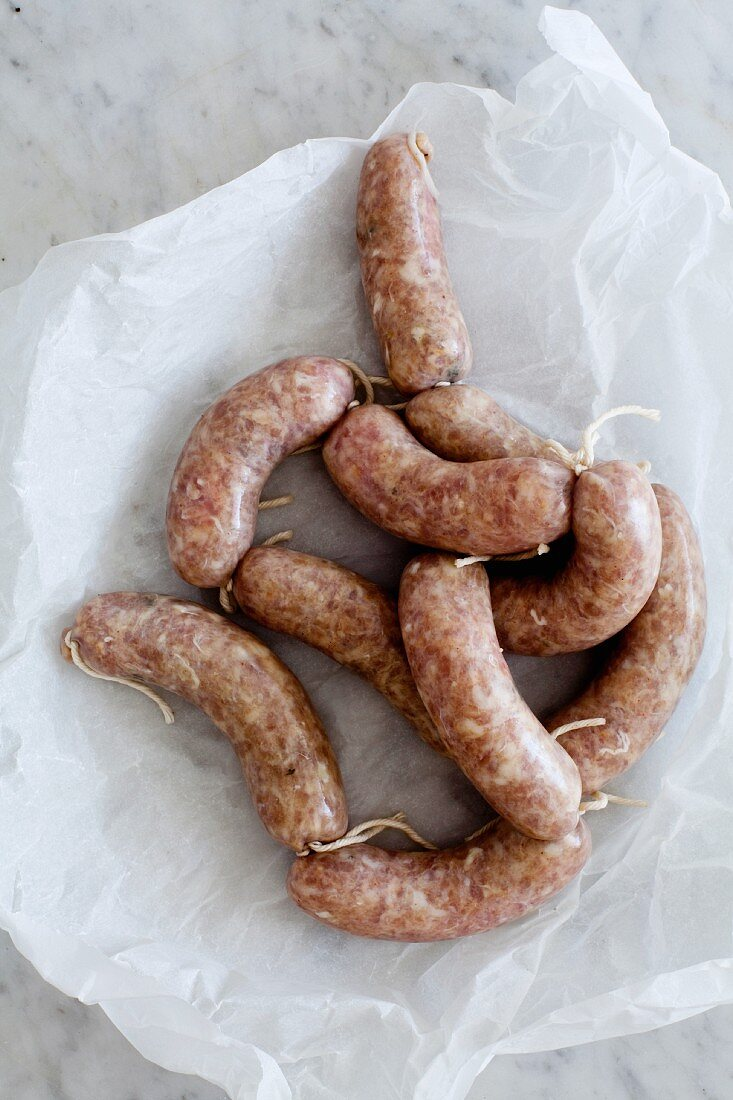 Spicy Christmas sausages on paper