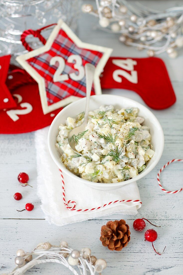 Herring salad with gherkins, potatoes and mayonnaise