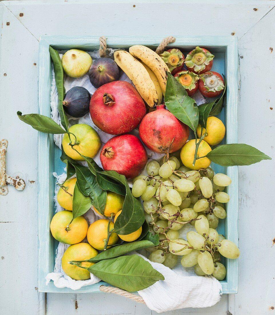 Trauben und verschiedene exotische Früchte auf Holztablett