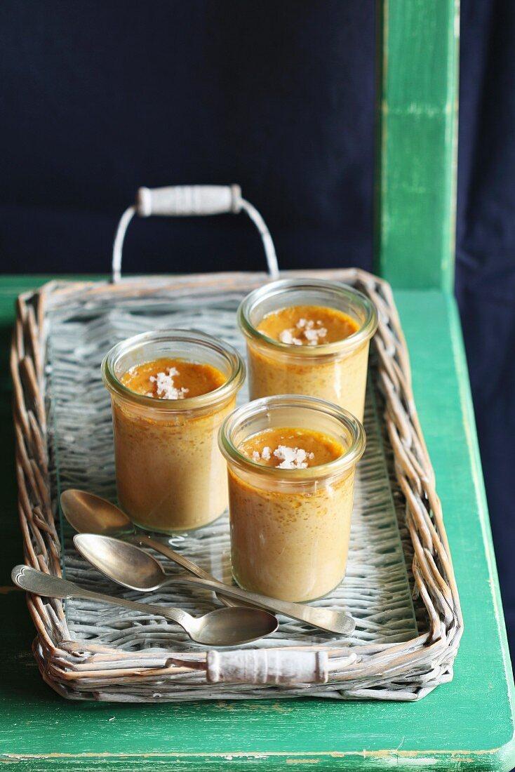 Three salted caramel pots de creme