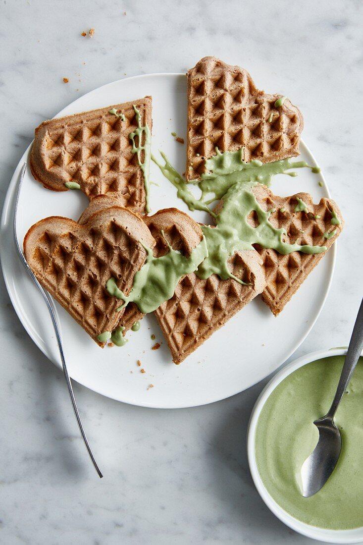 Low-calorie buckwheat waffles with barley grass quark
