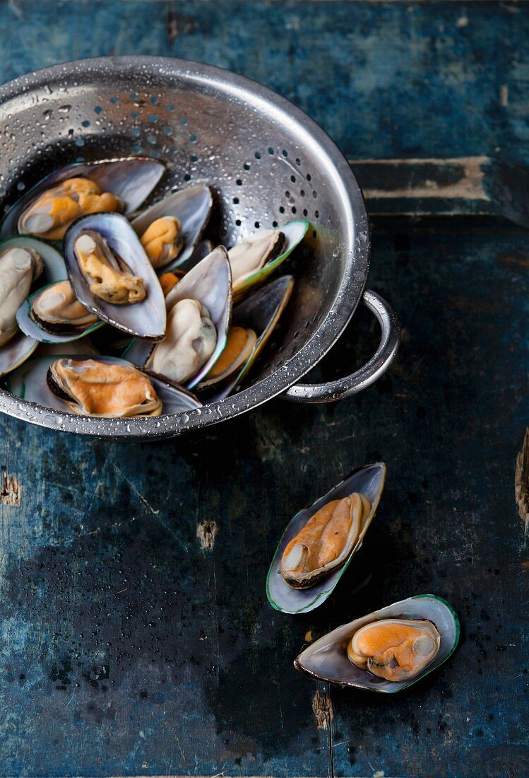 Raw washed mussels in colander