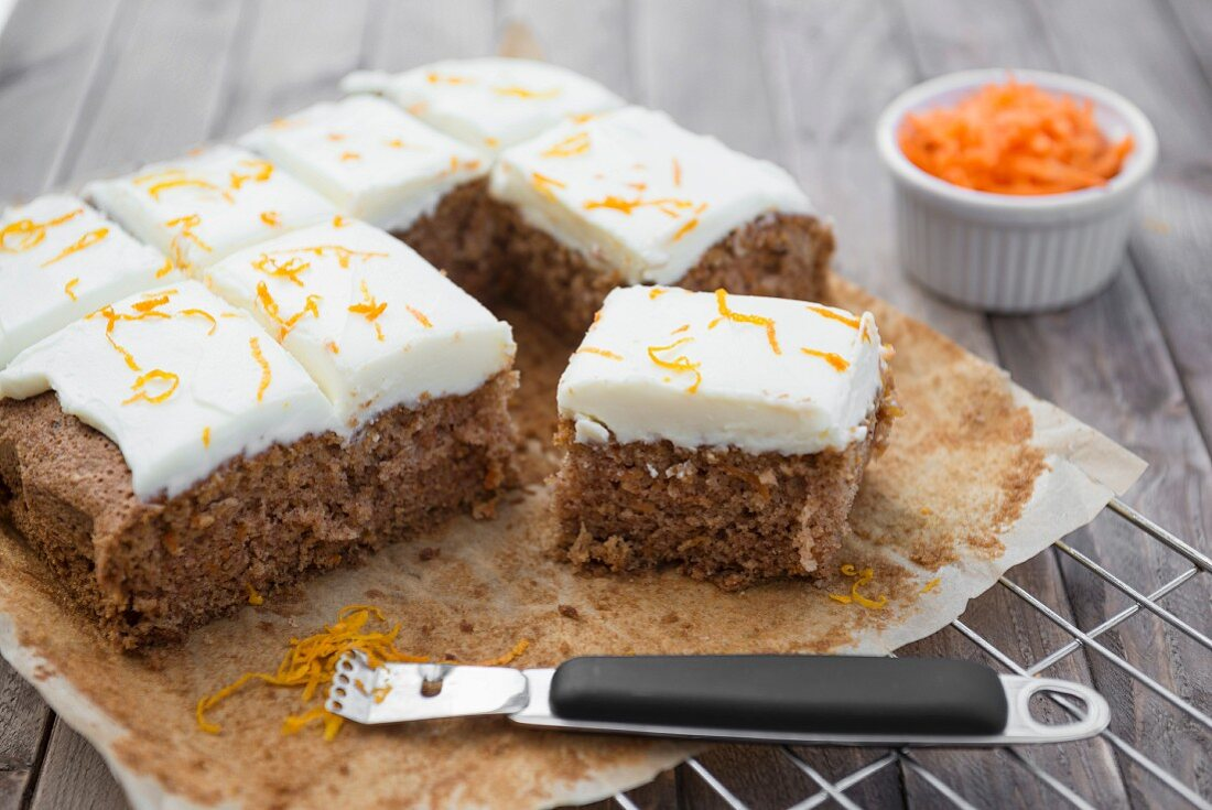 Carrot cake on a baking tray