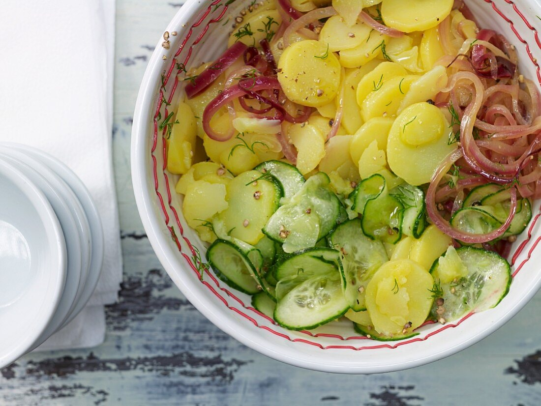 Potato salad with cucumber and dill