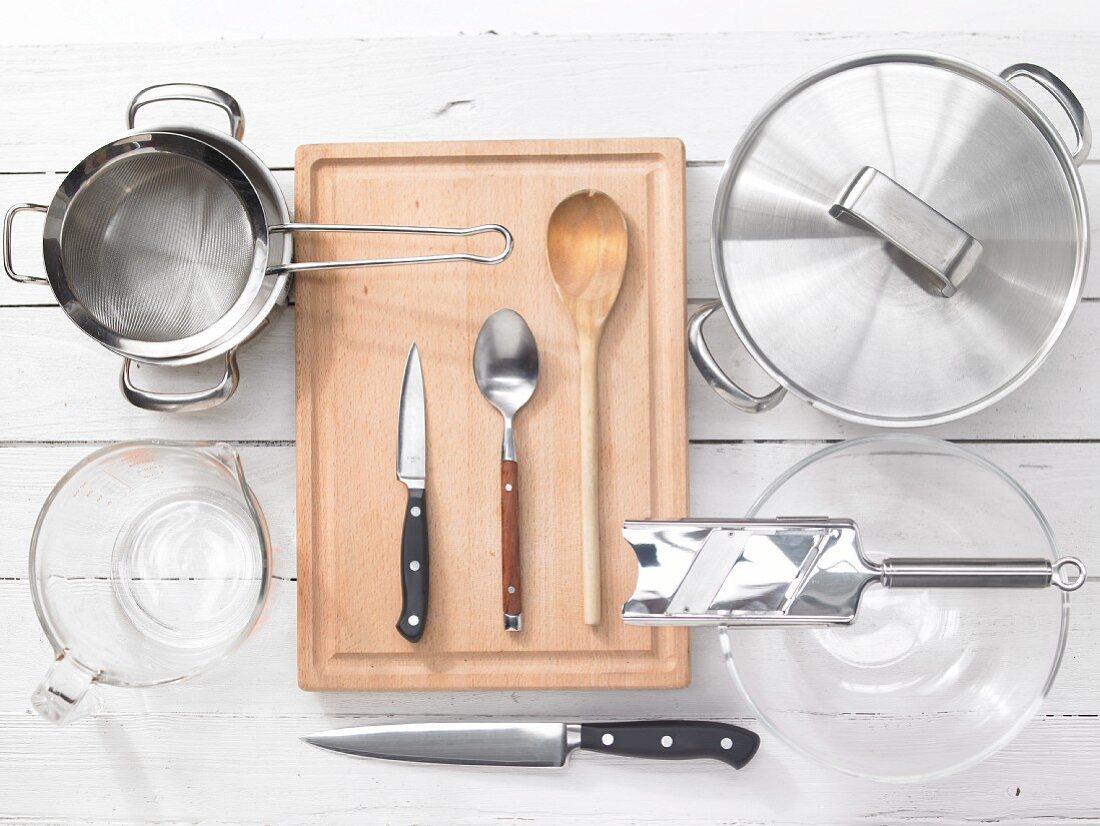 Kitchen utensils for making potato salad