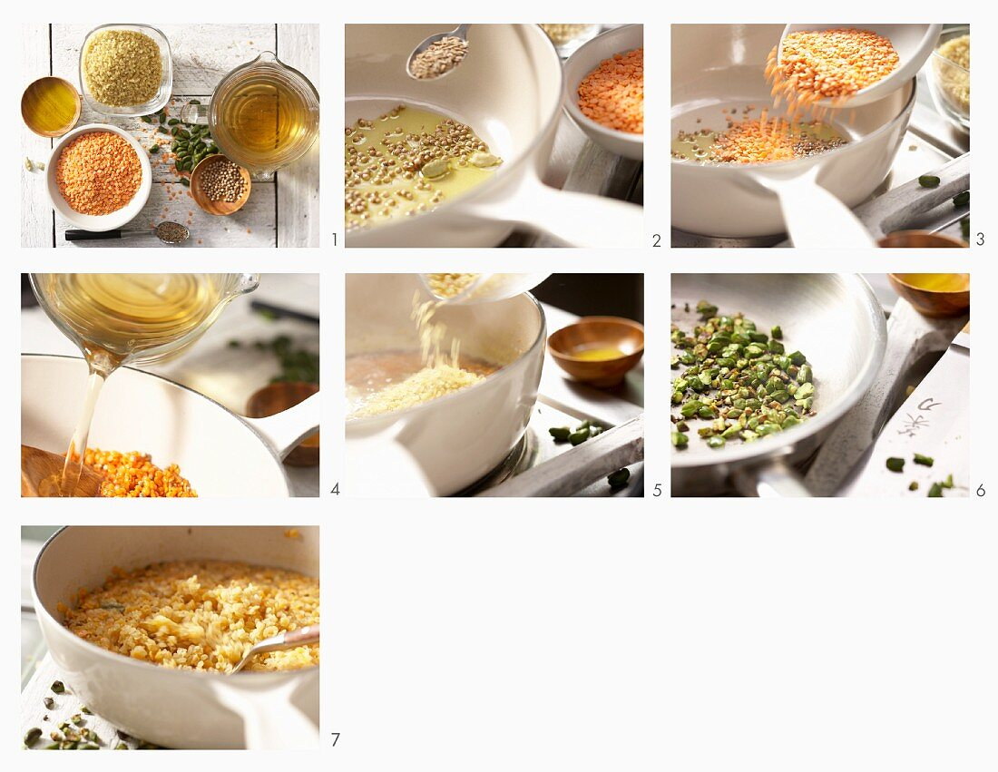 How to make bulgur wheat with lentils, oriental spices and pistachios