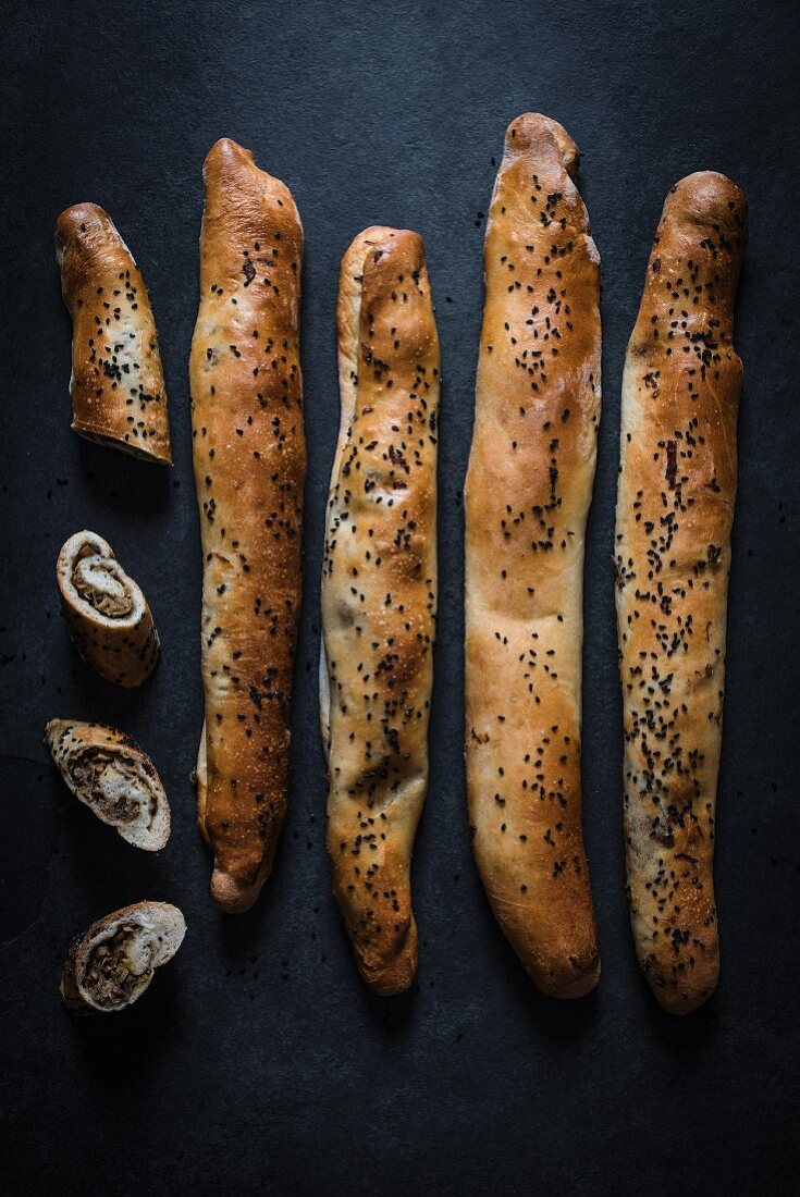 Mushroom filled bread with nigella seeds, view from above.