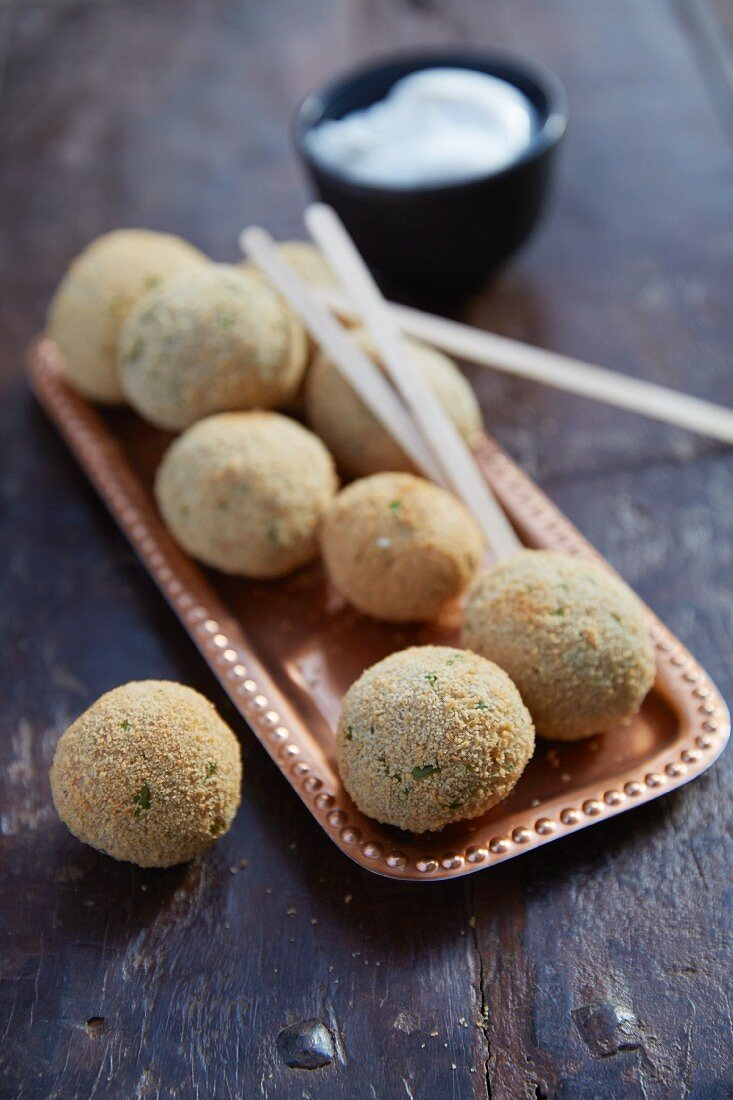 Meatballs on wooden skewers