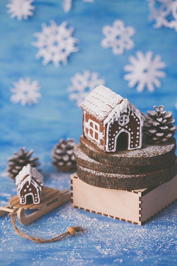 Gingerbread house in winter scenery.