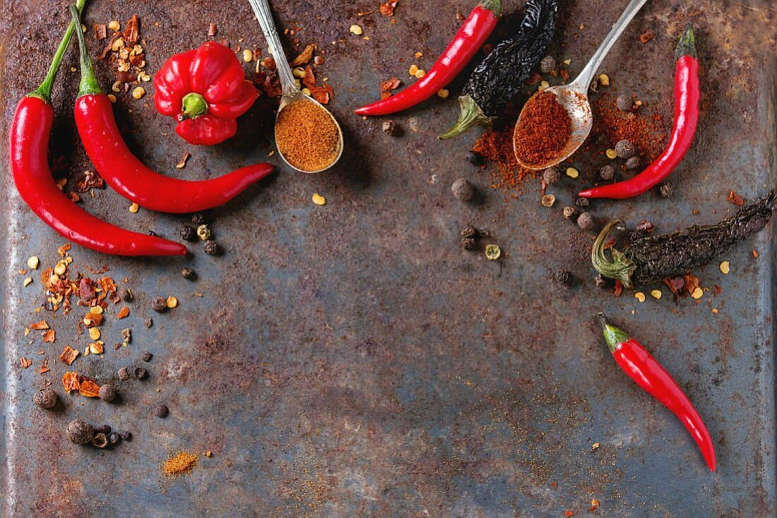 Spicy background with assortment of different hot chili and allspice peppers over old rusty iron background