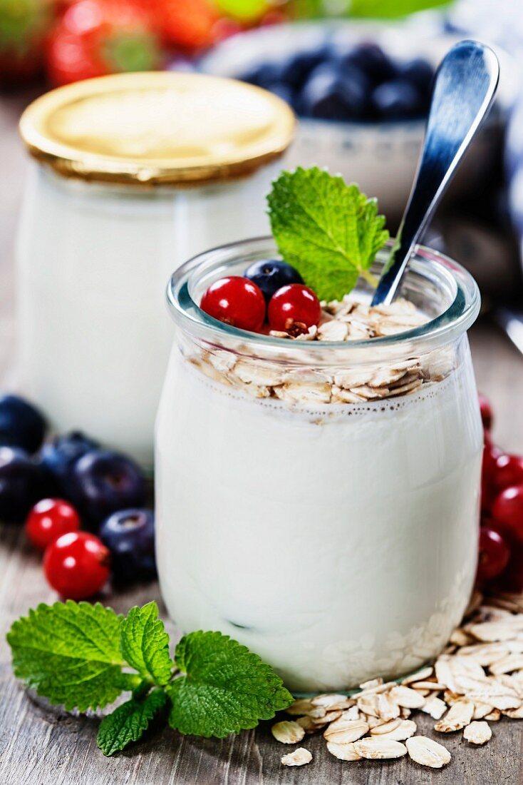 Healthy breakfast - yogurt with muesli and berries