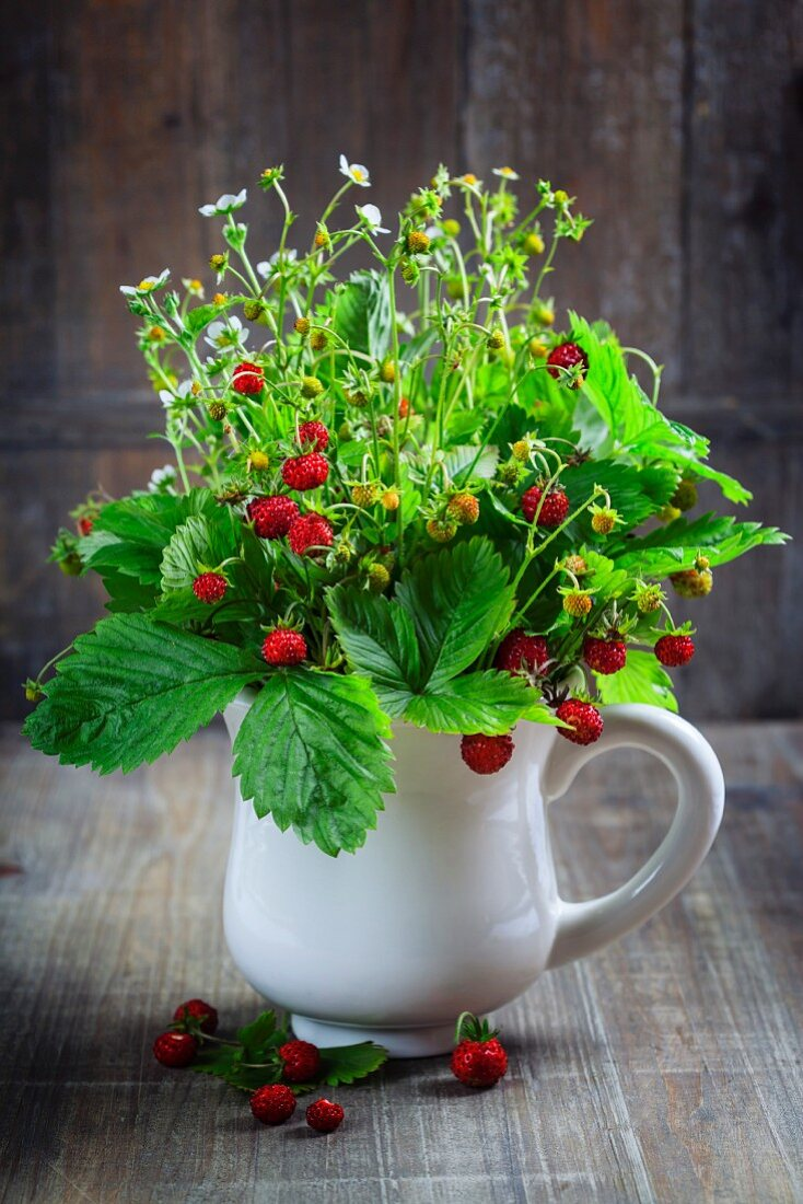 Bouquet of wild strawberry on wooden background