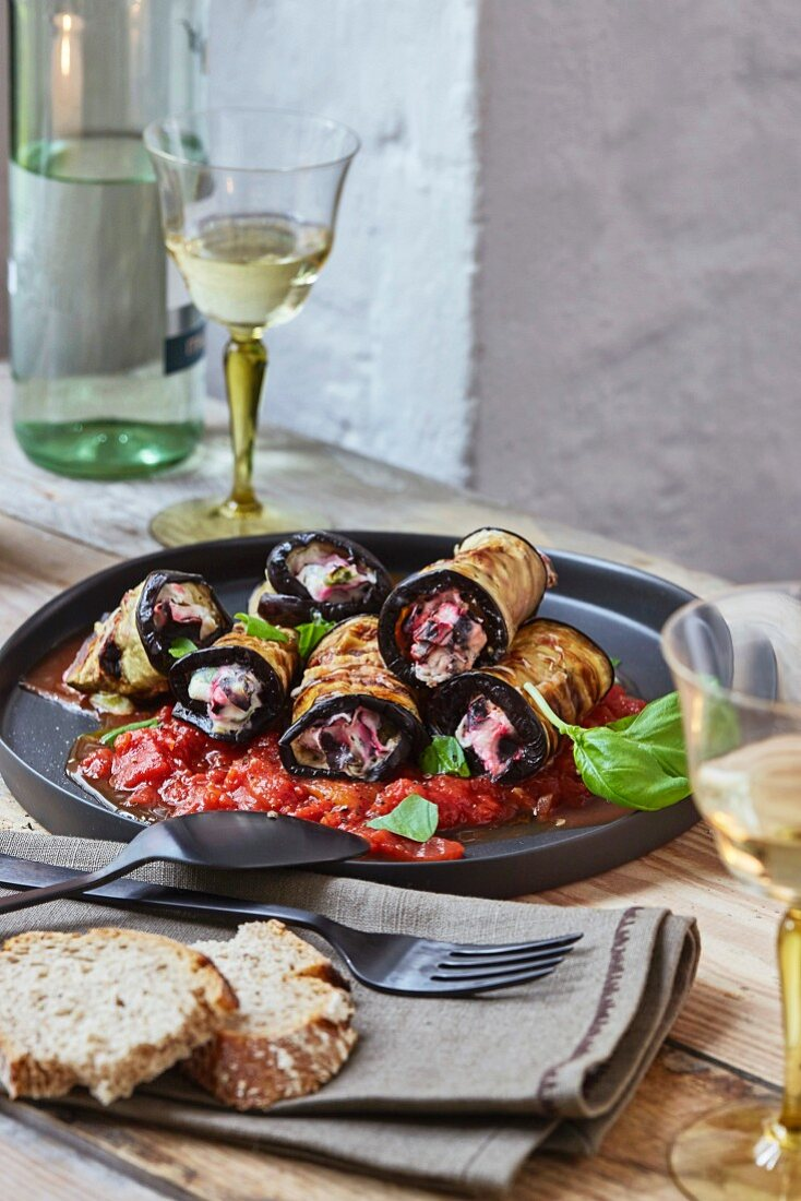 Aubergine rolls with ricotta and chard