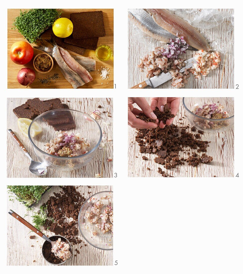 How to make herring tartare on pumpernickel crumbs with apple, onion and cress