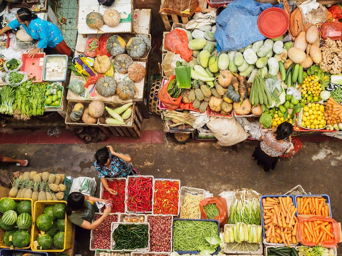 A covered market in Denpasar, Bali, Indonesia, Southeast Asia