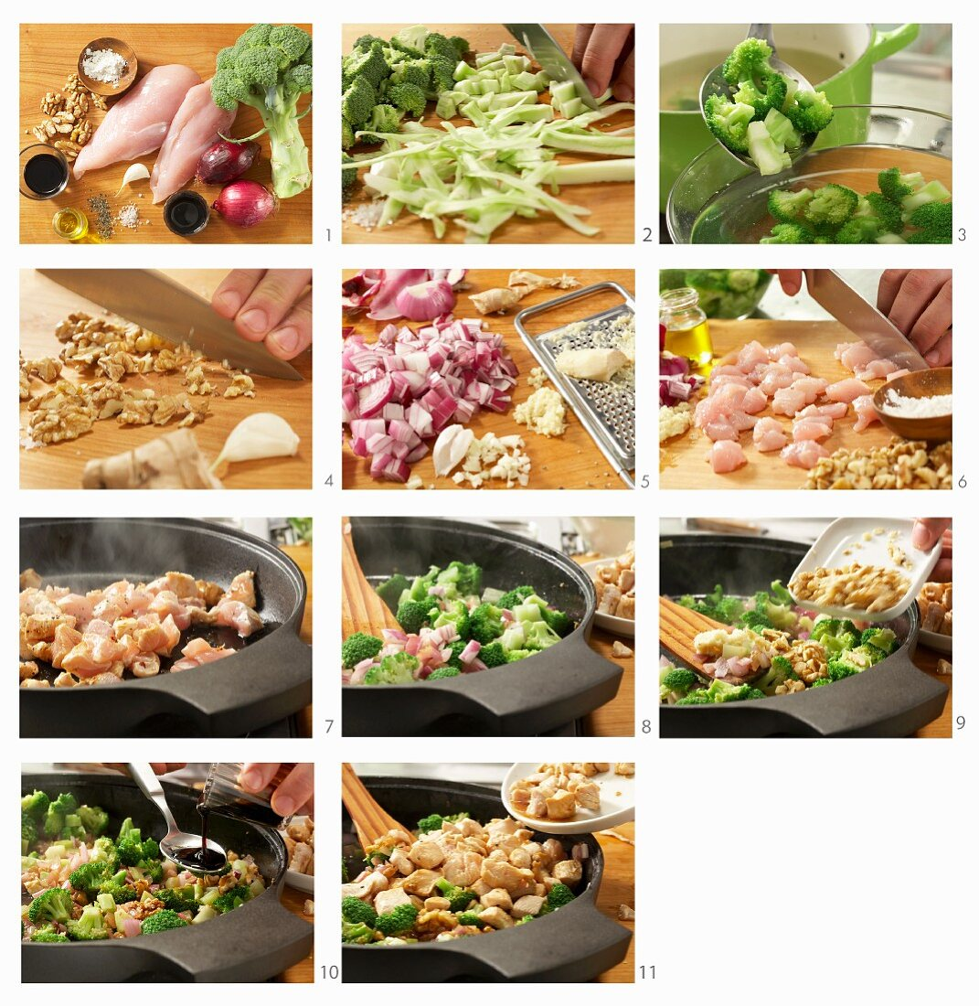 How to make stir fried chicken with broccoli, walnuts and oyster sauce