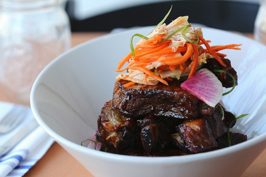 Baby Back Ribs (tamarind-gouchujang bbq sauce, kimchi)