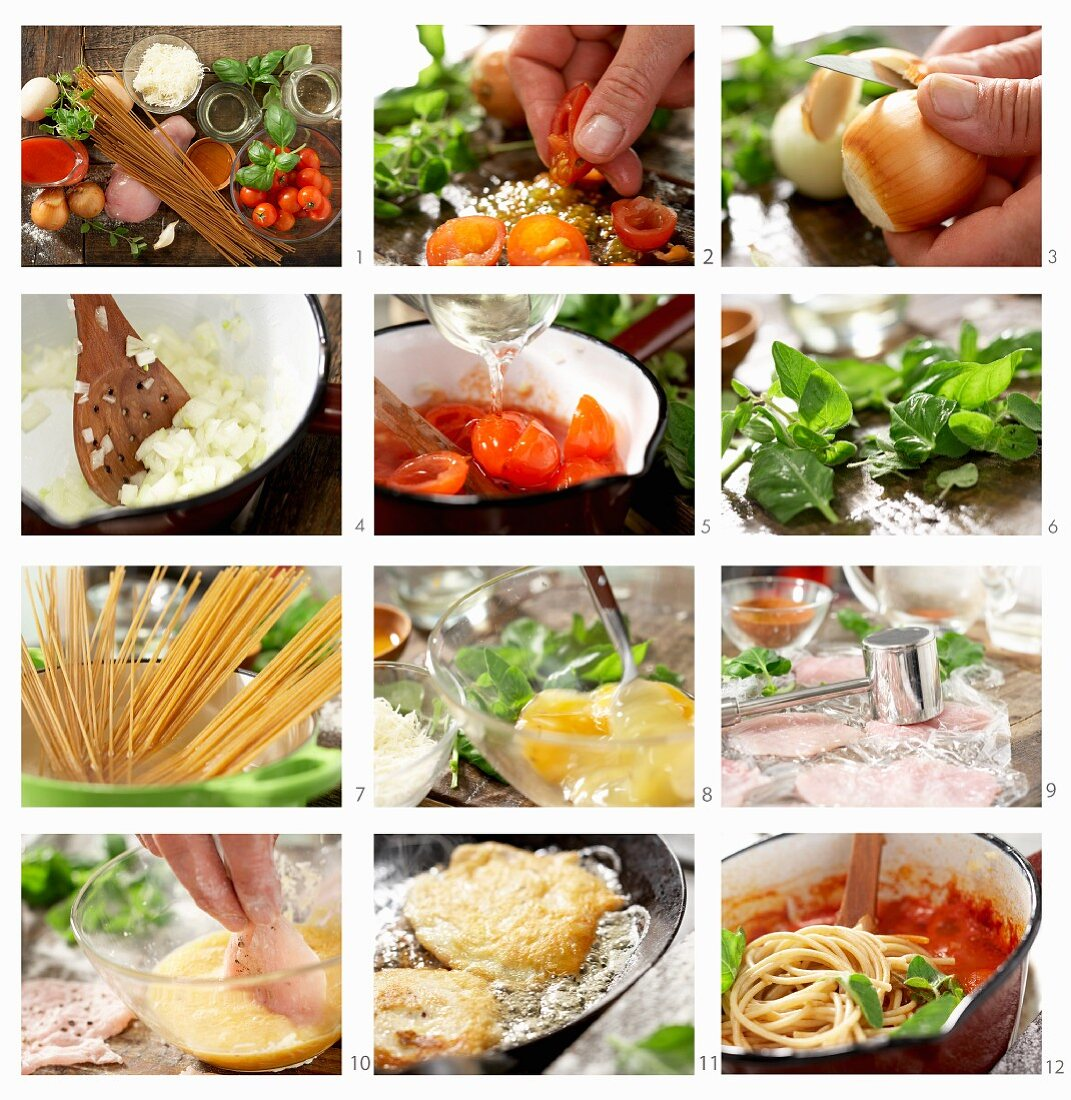How to make chicken breast slices in a cheese coating with noodles and tomatoes