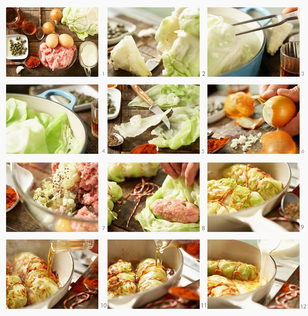 How to make cabbage rolls with veal, capers, garlic and caraway