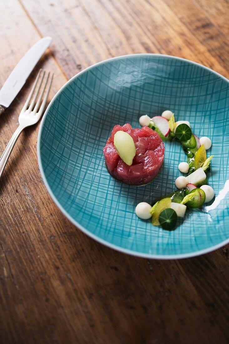 Tuna, jalapeño, celery, greengage and tarragon served at the 'Jellyfish' restaurant in Hamburg, Germany
