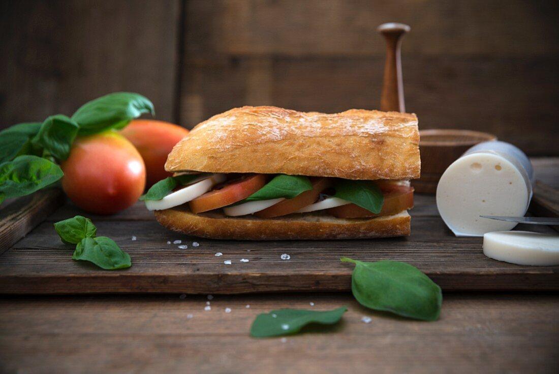 Ciabatta with basil, balsamic, tomatoes and vegan mozzarella