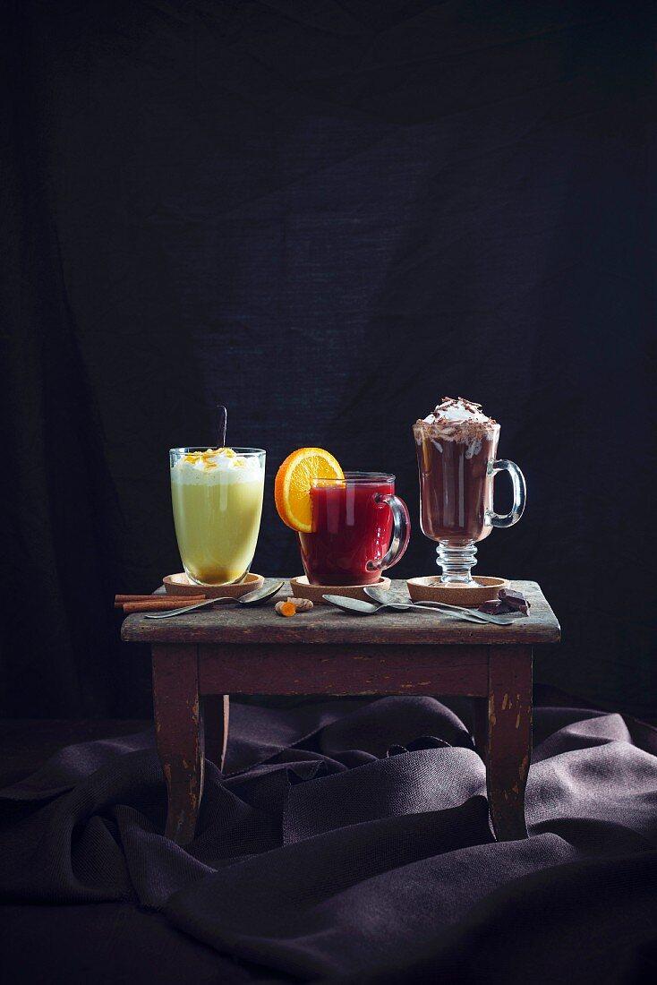 Golden milk, fruit punch and hot chocolate (vegan)