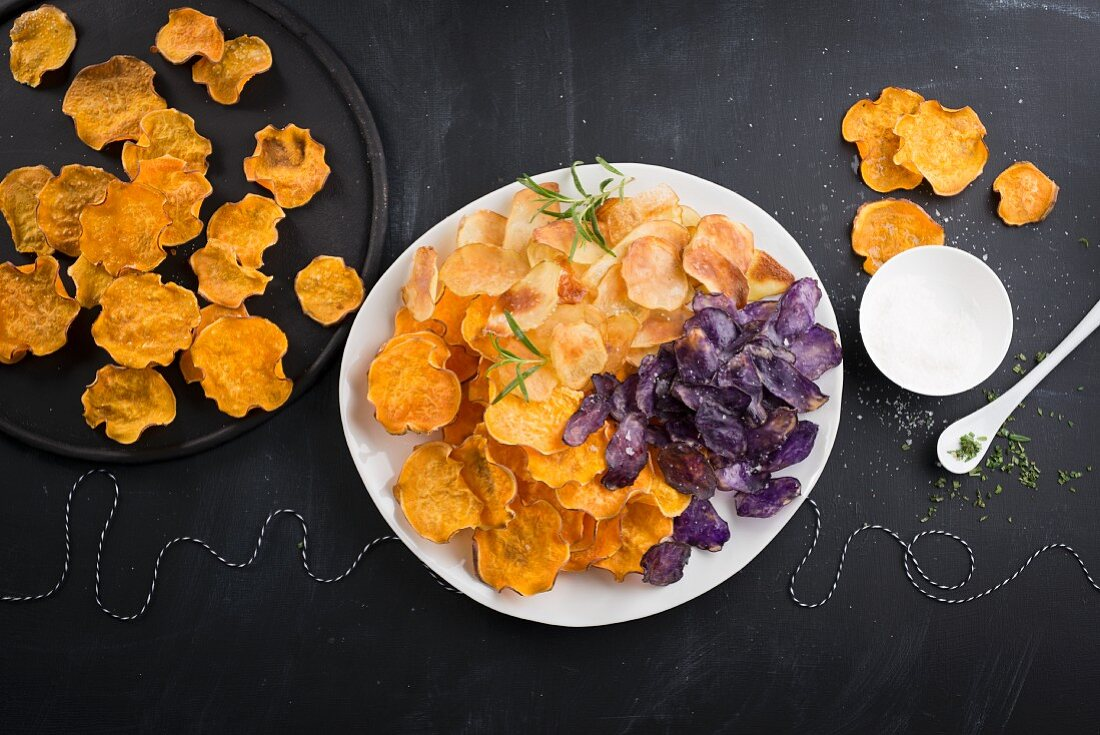 Various vegetable crisps for a party