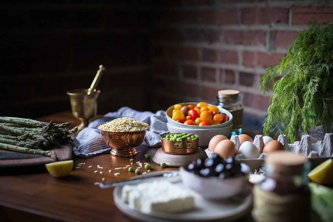 Orzo salad ingredients
