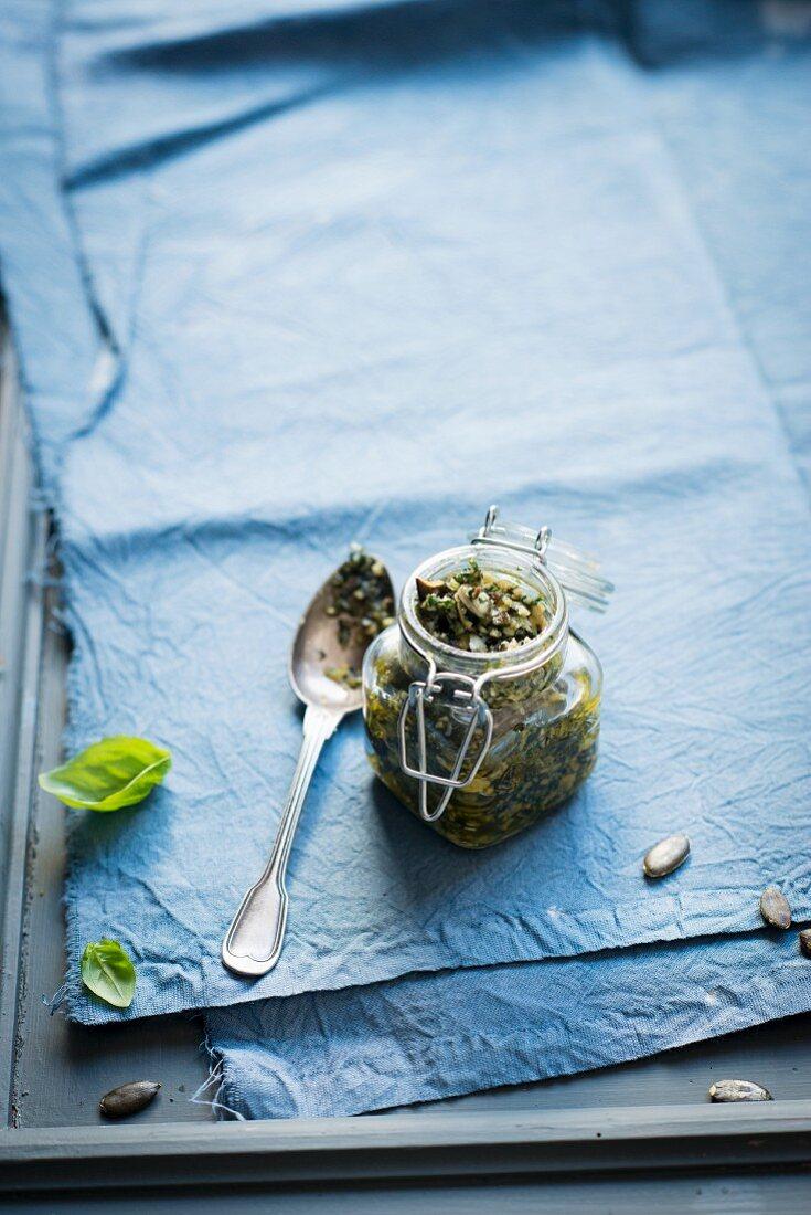 Pumpkin seed pesto in a glass jar