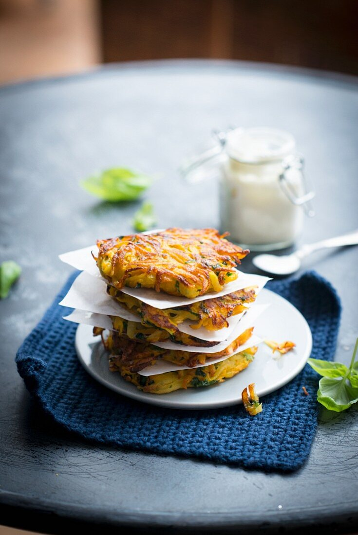 A stack of pumpkin fritters