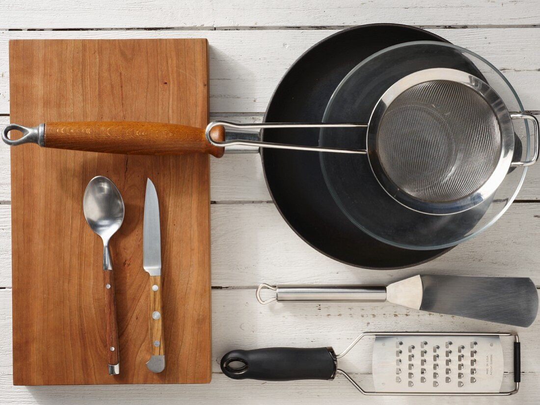 Kitchen utensils for the preparation of tortilla sandwiches with chicken and cheese