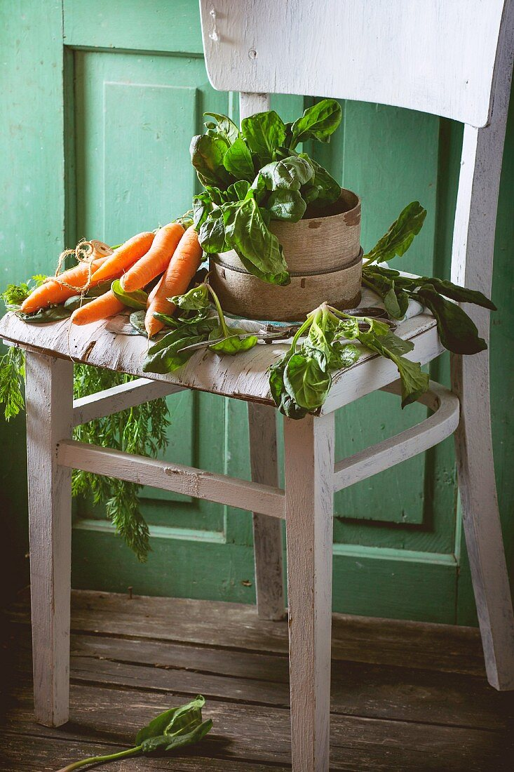 Bunch of fresh spinach and carrots on old white wooden chair with green wooden wall at background
