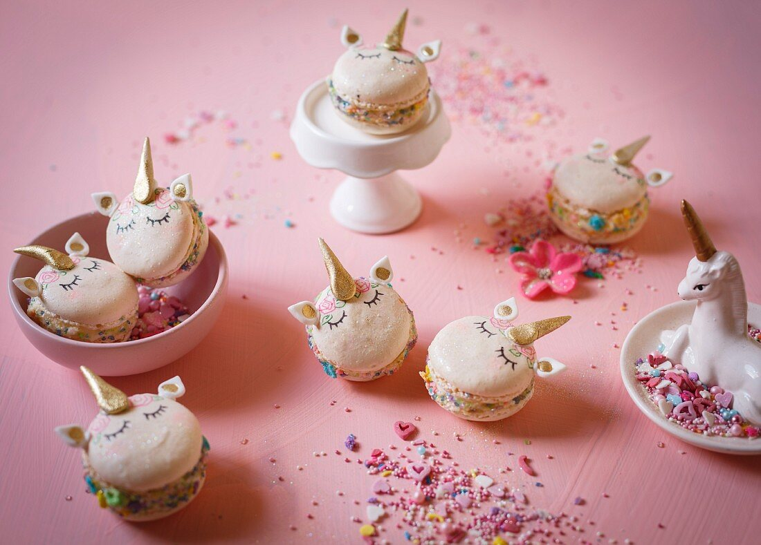 Unicorn macarons for a children's party