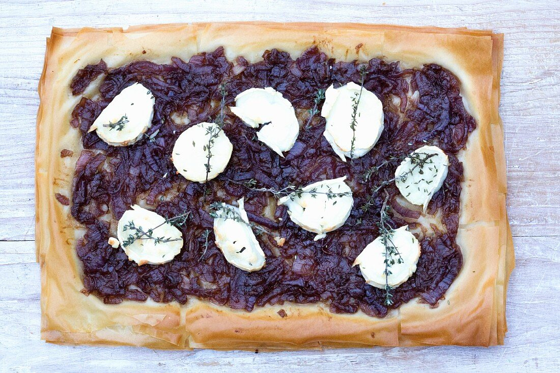 Quiche with Goats Cheese and Caramelised Onion