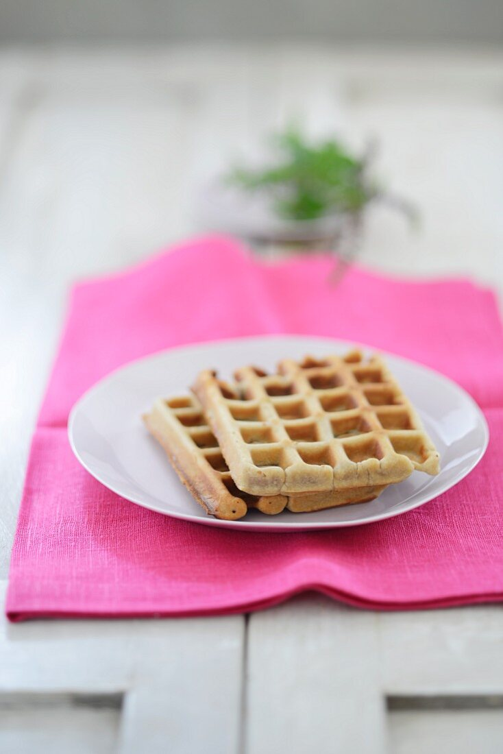A plate of waffles